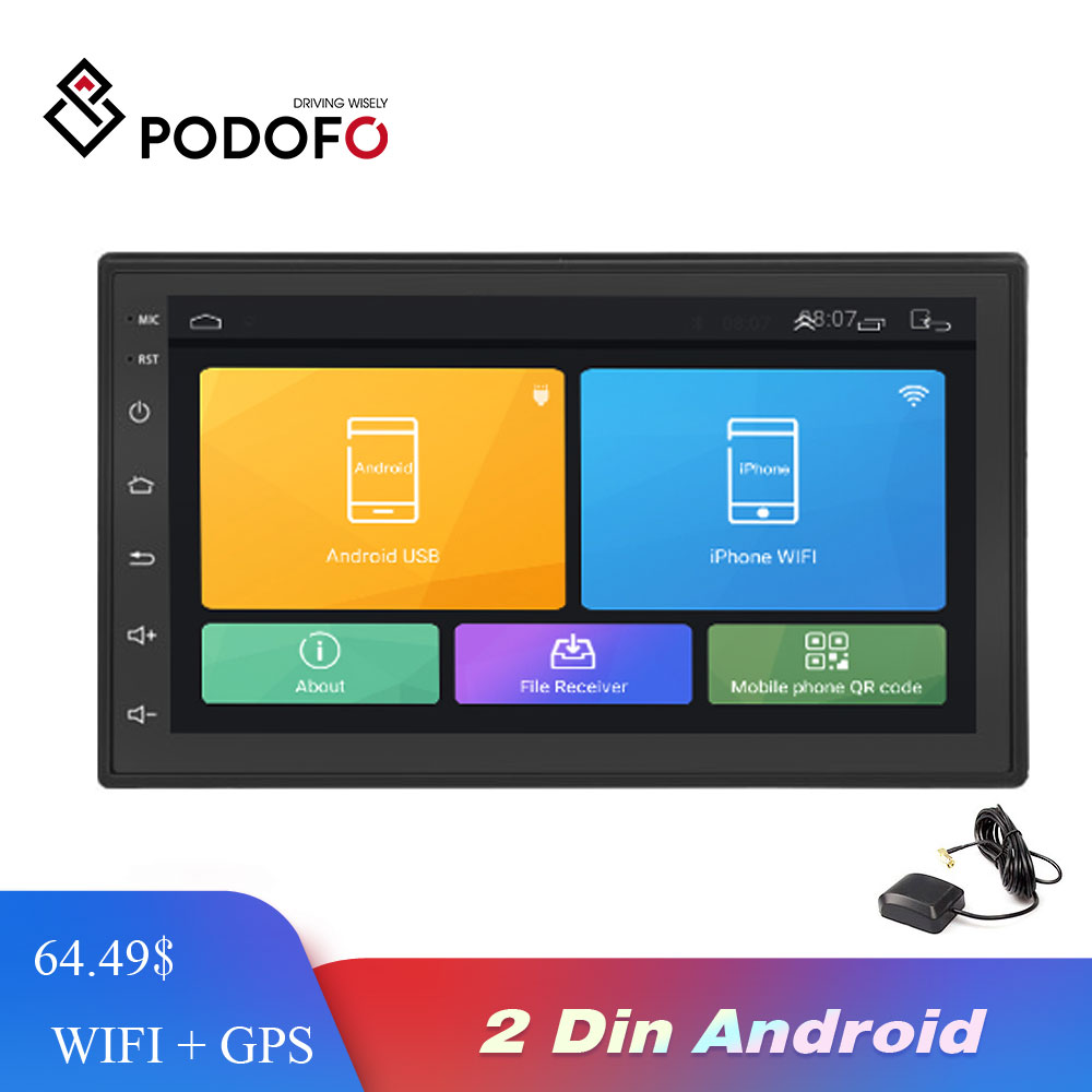 Podofo Android Car Radio Multimedia player <font><b>2</b></font> <font><b>Din</b></font> 7'' Touch Screen <font><b>Autoradio</b></font> Bluetooth FM WIFI AUX 2DIN <font><b>GPS</b></font> Audio Player Stereo image