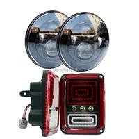 2 יחידות 7 ''40 W עגול Hi/Lo H4 led פנס שחור והוביל מנורות LED אורות זנב LED בלם הפעל אותות עבור 07-16 המצטיין ג 'יפים JK