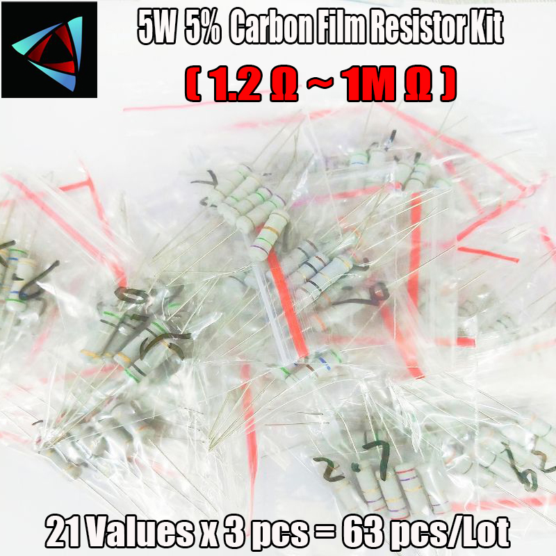 Free shipping 63PCS/LOT 5W resistor package 5% 1.2R-1M 21Values*3 63Pcs Commonly resistor kits carbon Resistors Assorted kit