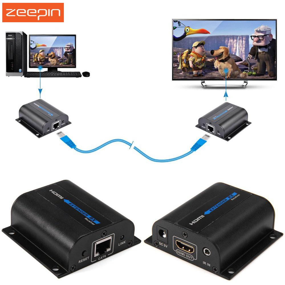 Prix pour Zeepin LKV372A 60 m HDMI Extender Émetteur + Récepteur Expéditeur avec RJ45 LAN CAT6 Réseau Signal Câble Pour DVD PS3 projecteur