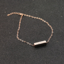 Rose Gold Color Customised Anklet Solid Silver Stamped Words Cubiod Pendant Bracelet 3D Women Jewelry Christmas Gift