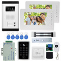 7'' wired color video door phone intercom doorbell kit set with 1 camera+2 monitors+access control keypad+EM lock for 2 families