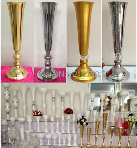 Superior Express Free Shipping Wholesale Wedding Supplies Gold Silver Trumpet Wedding  Decoration Table Centerpieces
