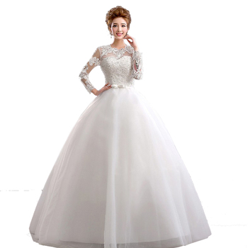 Cheap Lace vintag vestidos de novia 2017 white bride wedding dresses Casamento Plus Size with Long sleeves china robe de mariage