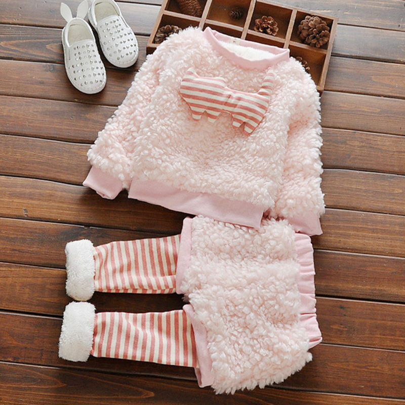 2016 Cute Furry Girls Clothes Striped Baby Kids Sport -8538