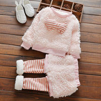 2016 Cute Furry Girls Clothes Striped Baby Kids Sport Clothes Set Children Suit for 0 4 years old