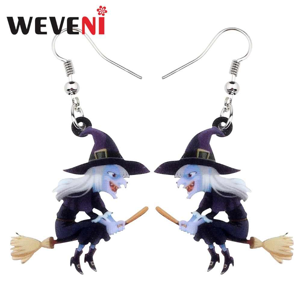 WEVENI Acrílico Animal Halloween Vassoura Bruxa Brincos Gota Dangle Encantos de Moda Dos Desenhos Animados do Presente de Jóias Para As Mulheres Meninas Adolescentes