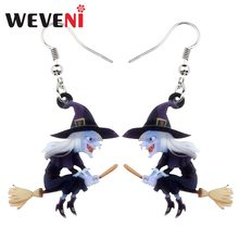 weveni acrylic animal halloween broomstick witch earrings drop dangle fashion cartoon jewelry for women girls teens gift charms