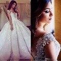 Lujo Weddingdress vestido de Bola Vestidos de Novia 2017 Modest Cuentas de Encaje de La Vendimia de Cristal de Novia Vestidos de Novia de la Boda