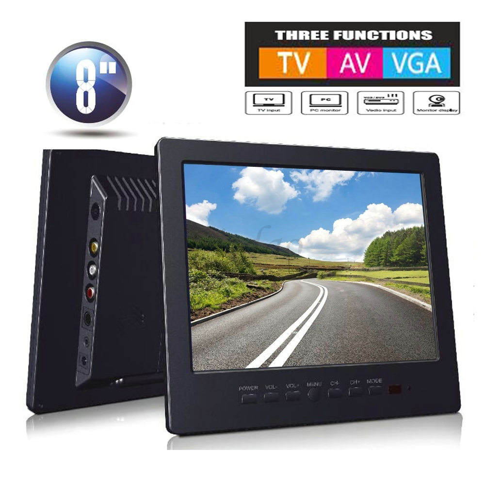 Moniteur de vidéosurveillance de voiture de 8 pouces moniteur Portable PC récepteur de télévision analogique couleur moniteur vidéo écran VGA/TV/AV entrée langue russe