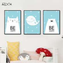 Artdom No Frame Cute Cartoon Animals Wall Art Pictures Nordic Kids Baby Room Decor Canvas Painting