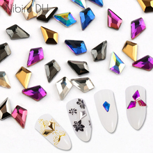 20 pcs Nail Rhinestones Crystal Glass Colorful Flatback Diamond Stones For 3D Art Decorations
