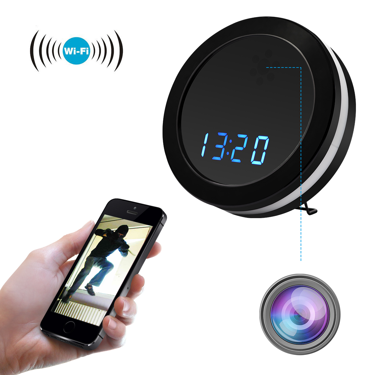 WiFi Camera Table Clock Night Vision Electronic Clock, IP P2P CCTV TV Baby Monitor Home Security Camcorder Wireless Mini Cam hd 720p table alarm clock wireless wifi ip mini ir camera motion security baby monitor with digital clock home dv cam clock