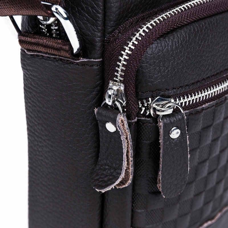 BULLCAPTAIN Marca Saco Do Mensageiro Dos Homens de Couro Real Casual Crossbody Bag Bolsa dom Sacos de Sacos de Ombro dos homens de Negócios Dos Homens