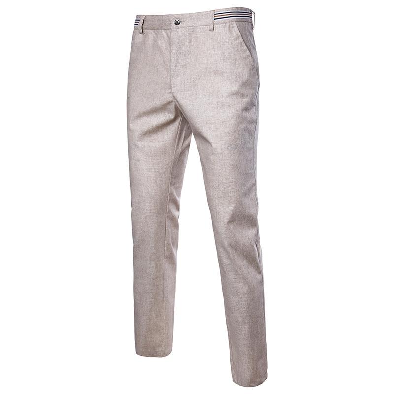 Summer Linen Pants Men Zipper Fly Cotton Linen Jogger Pants Male Trousers Cool Breathable Straight Trousers Pantalon Homme Khaki
