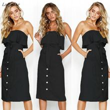 Women's Summer Ruffles Button Decor Off Shoulder Bardot Dress Ladies Summer Belted Frill Dress Laipelar