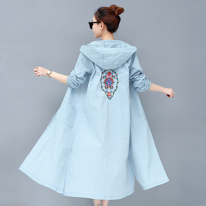 Women Floral Embroidery Thin Sun Protection Clothing New Long Hooded Trench Coat summer Wide-waisted Windbreaker Outwears Mw258
