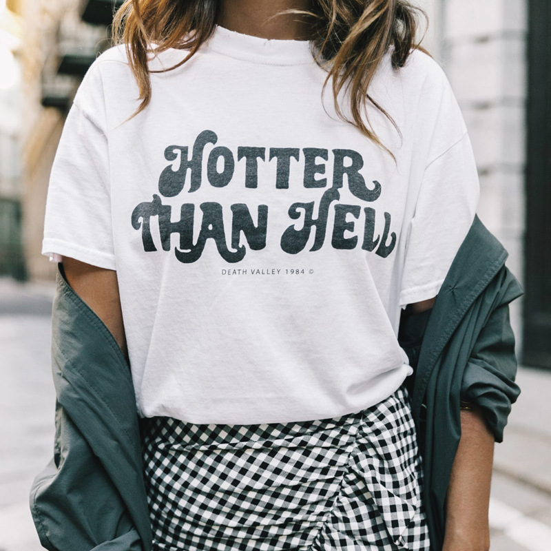 New Women Men T Shirt HOTTER THAN HELL Letter Cotton Casual Funny Shirt for Lady Gray Black White Top Tee Hipster Drop Shipping ...