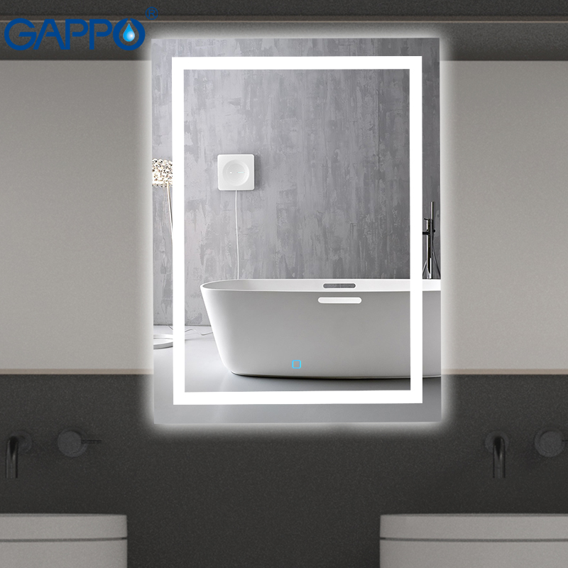Espelhos De Banho Gappo fixado na parede Led espelho Redondo cosméticos make up interruptor de toque espelho luz do banheiro quadrados Levou ajustável