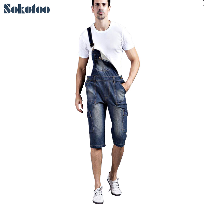Sokotoo Men's plus size denim shorts Casual pocket overalls Loose jumpsuits Bib pants Capri Free shipping