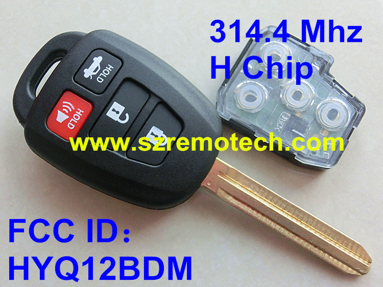 FCC ID: HYQ12BDM Free Shipping Uncut Remote Key Fob With 314.4 Mhz H Chip 4 Button Fit For Toyota Camry 2012 2013 2014