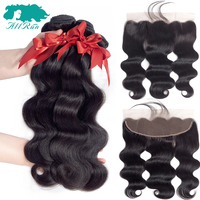 Allrun 3 Bundles With Frontal Body Wave Brazilian Hair Weave Bundles With Closure 100% Human Hair Bundles With Closure Non Remy