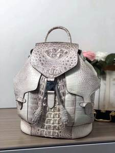 Backpack Women Real-Crocodile for And Daily-Bag Head-Skin Himalaya White-Color Solid