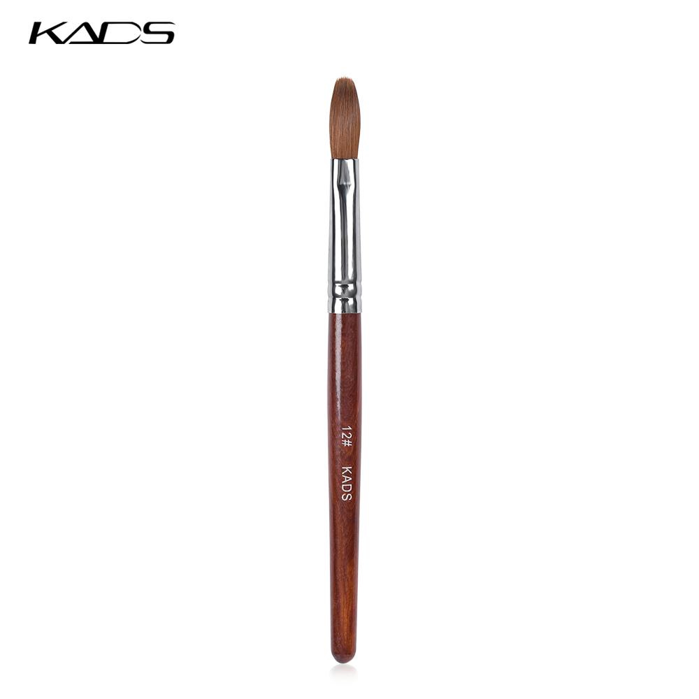 KADS 12# 100% Kolinsky Sable Acrylic Brush Flat Round Red Wood Handle Brush UV Gel Poly Brush for Nail Art Gel Builder Brush