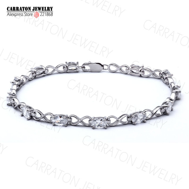 Real 925 Sterling Silver Oval Cubic Zirconia Infinity Tennis Bracelet