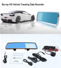 Best Car dvr camera dual lens mirror 4.3″ LCD 140 degree mirror to Protect your eyes with G-sensor H.264 rearview mirror DV700