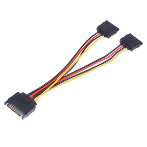 Image 3 - 20cm 15Pin SATA Male to Female 2 SATA Splitter Cable Power Adapter Cord Extension Wire Line for HDD Hard Disk Splitter Connector