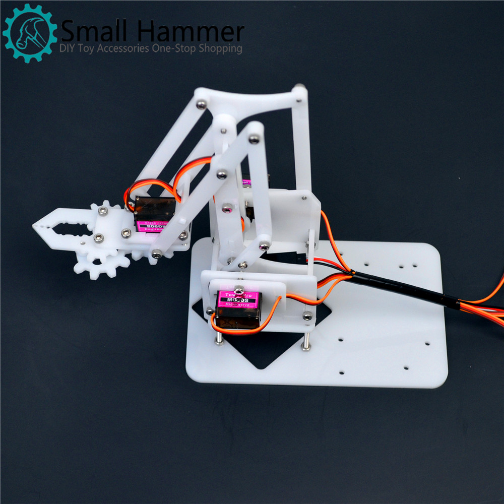 4 degrees of freedom acrylic assembled robotic arm white mg90s robot arduino DIY maker learning kit arduino plotclock robot kit drawing program acrylic arm