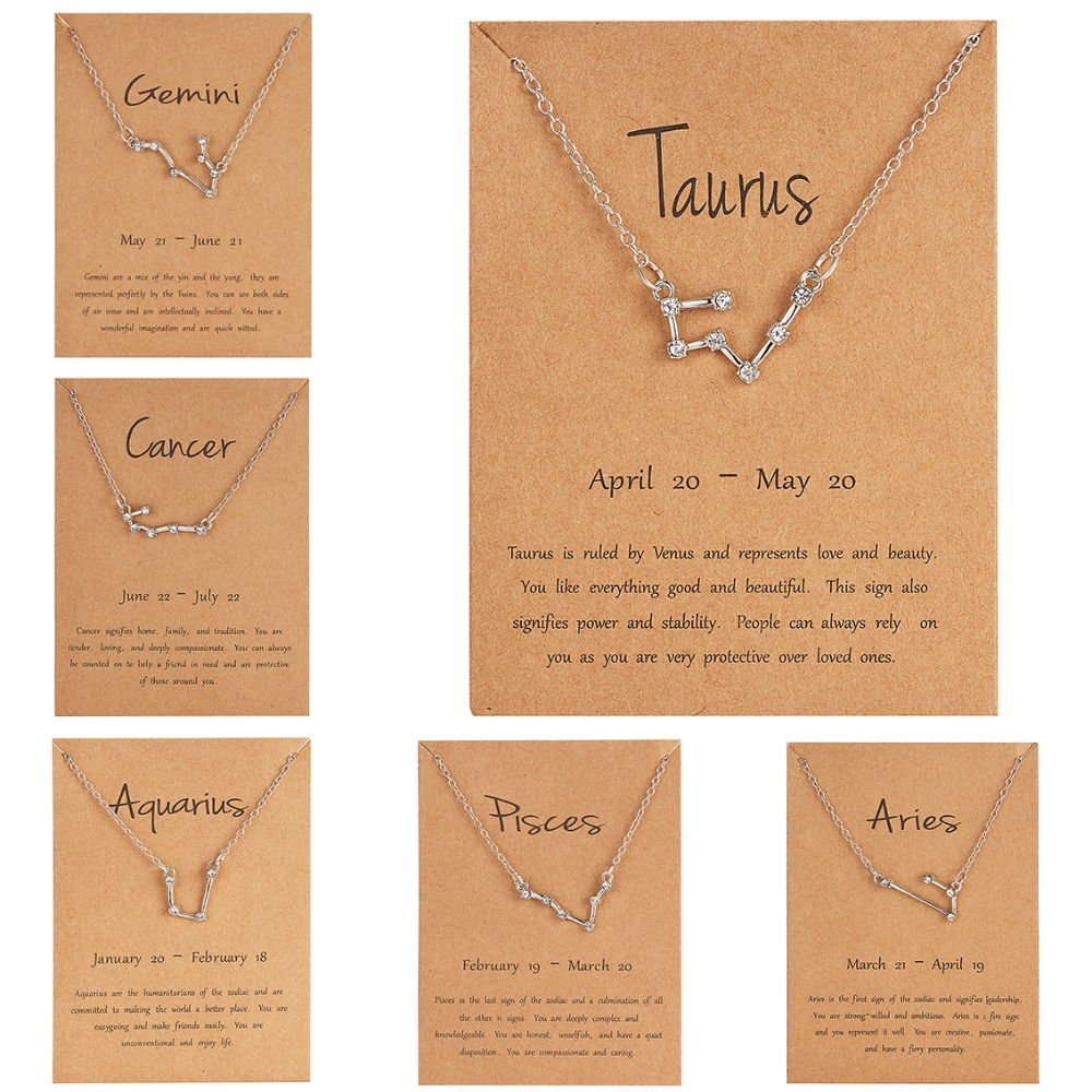 Rinhoo Trendy Shiny Crystal Star Zodiac Sign 12 Constellation Pendent Necklaces Female Elegant Silver Choker Necklaces