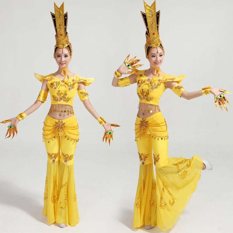 2017 Vendita intrattenimento musiche e canzoni Costumi di Danza Cinese Folk Dance Mille Guanyin Mito Festa di Primavera Costume Nazionale Avalokitesvara