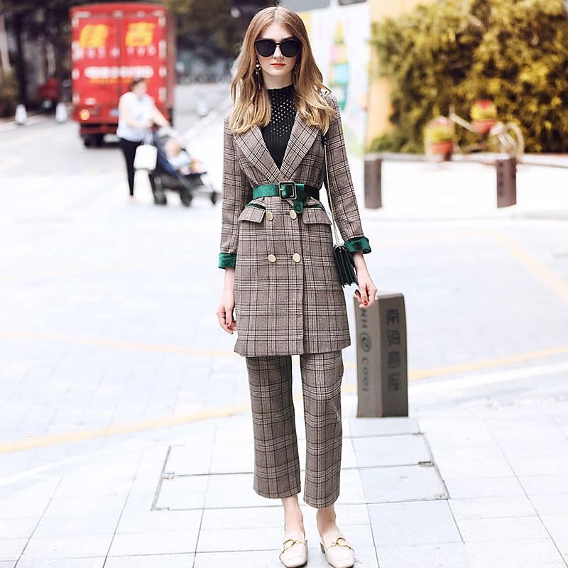 Комплект из двух предметов для женщин брюки для девочек костюм комплект зимняя одежда для женщин 2018 бренд взлетно посадочной полосы ПР Офис