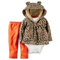 Retail,  Leopard grain baby bebes girl clothing set baby girl boy clothes 3piece set bebe clothes hooded +shirt + pants newborn