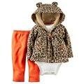 Venta al por menor, grano del leopardo del bebé bebes muchacha de la ropa del bebé ropa de niño de 3 piezas conjunto bebe ropa encapuchada + camisa + pantalones recién nacido