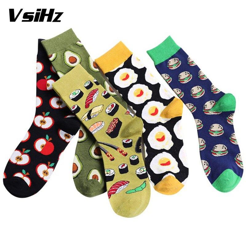 Lovely Food Socks Avocado Omelette Burger Sushi Apple Plant Fruit Short Funny Cotton Socks Women Winter Happy Socks Female