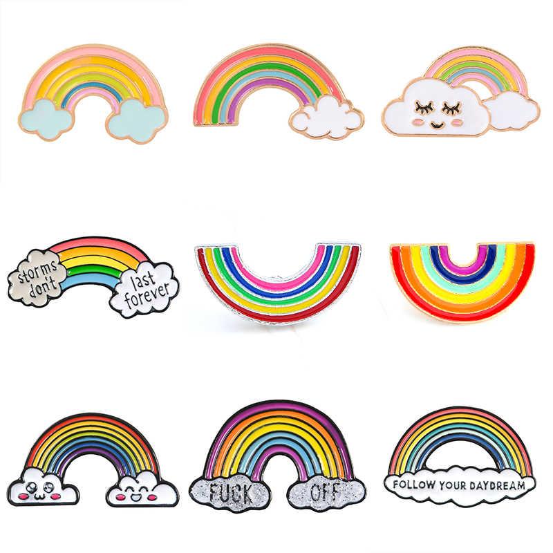 คุณภาพสูงน่ารักสายรุ้ง Lady Pins การ์ตูน Cloud Badge แจ็คเก็ต Denim Lapel Pin Dream ของขวัญเครื่องประดับสำหรับเด็กของขวัญ