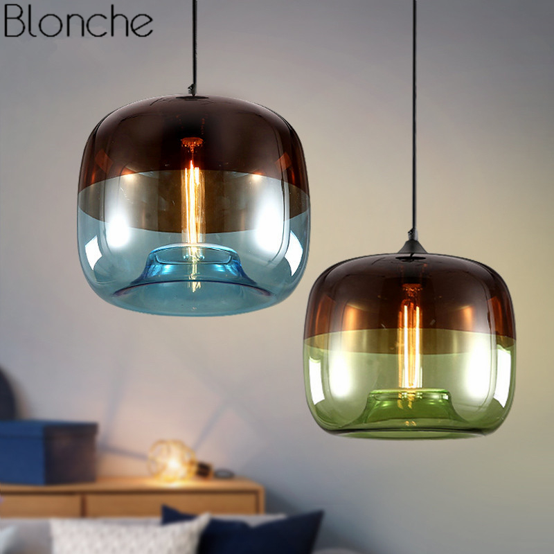 Modern Nordic Stained Glass Pendant Lights Led Loft Industrial Hanging Lamp for Dining Room Home Decor Luminaire Light FixturesModern Nordic Stained Glass Pendant Lights Led Loft Industrial Hanging Lamp for Dining Room Home Decor Luminaire Light Fixtures