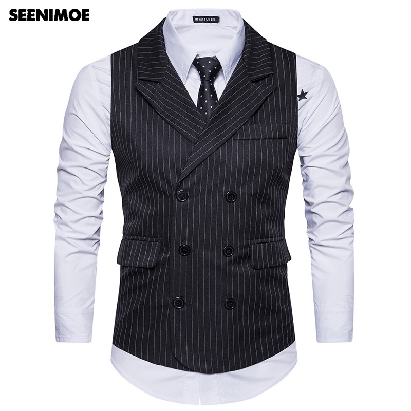 Seenimoe Mens Formal Blazer Vests England Model Stripe Double Breasted V-Neck Vest Eu Dimension S-Xxl Male Vests Drop Transport