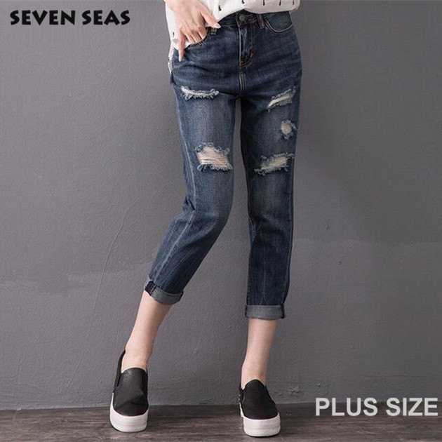 ФОТО 2016 New Fashion Classic Dark Blue Ripped Jeans for Women Plus size Slim Distressed Jeans Femme Vaqueros mujer