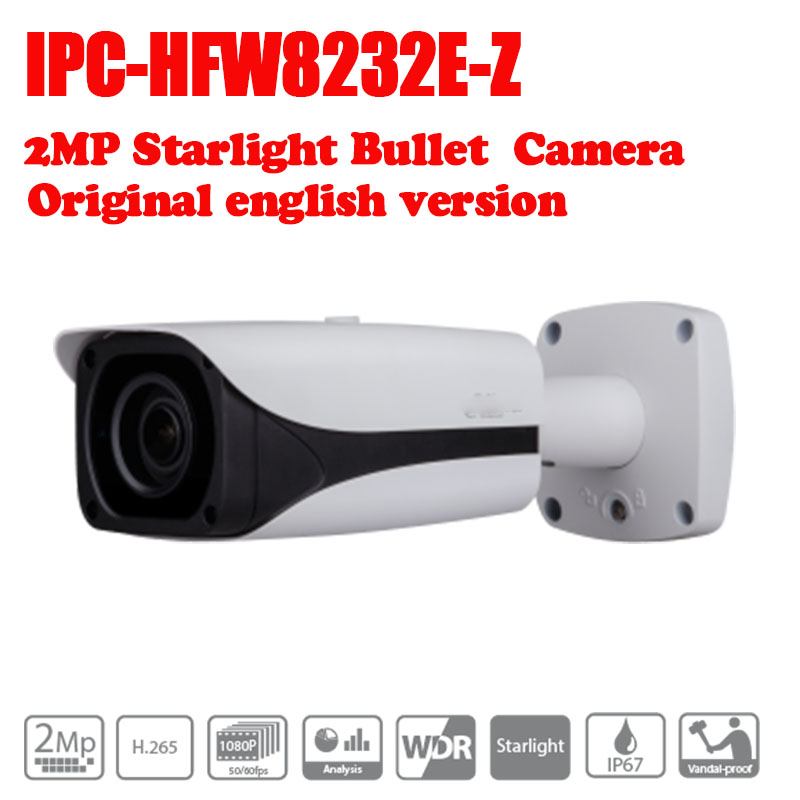 Free Shipping DAHUA 2MP Starlight IR Bullet Network Camera IPC-HFW8232E-Z 4.1mm ~16.4mm motorized lens