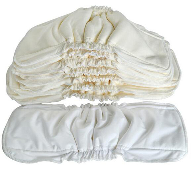 Organic Bamboo Cotton Insert With Gusset (10 Piece A lot) Cotton Bamboo Liners Pads For Pocket Diaper