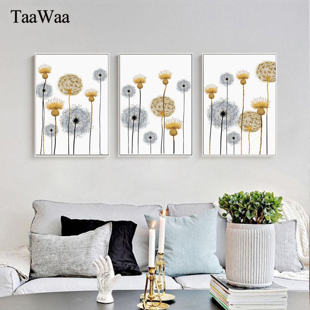 TAAWAA Dandelion Flower Nordic Poster and Print Wall Art Canvas Painting Minimalist Decorative Picture for Living Room