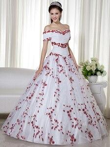 Image 3 - リアルホワイトと赤の夜会服カラフルなウェディングドレスオフショルダー刺繍コルセットバック非ホワイトブライダルドレス