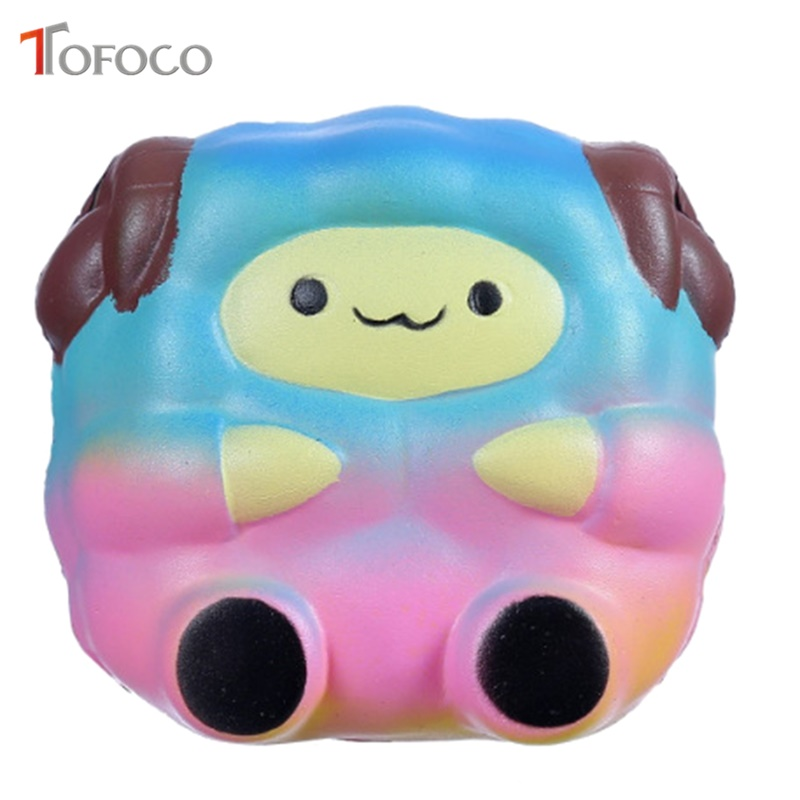 TOFOCO 9Cm Cute Squishy Colorful Sheep Slow Rising Scented Fun Cartoon Starry Sky Squishies Toys Gift Children Adult Anti Stress