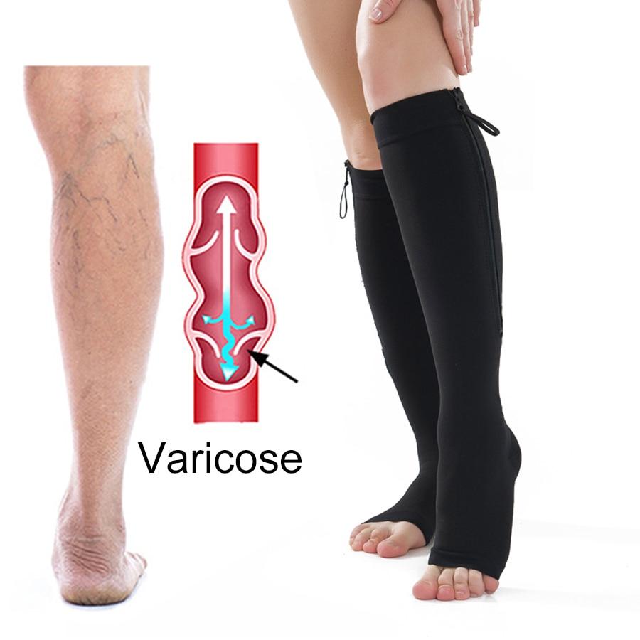 Compression Stocking Anti-Varicose Socks Zipper Leg Band Slim Beauty Leg Shapper Burn Fat Support Socks Prevent Varicose Veins