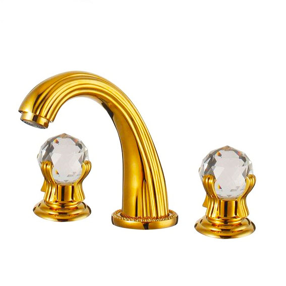 European classical gold plated bathroom faucet golden crystal three ...