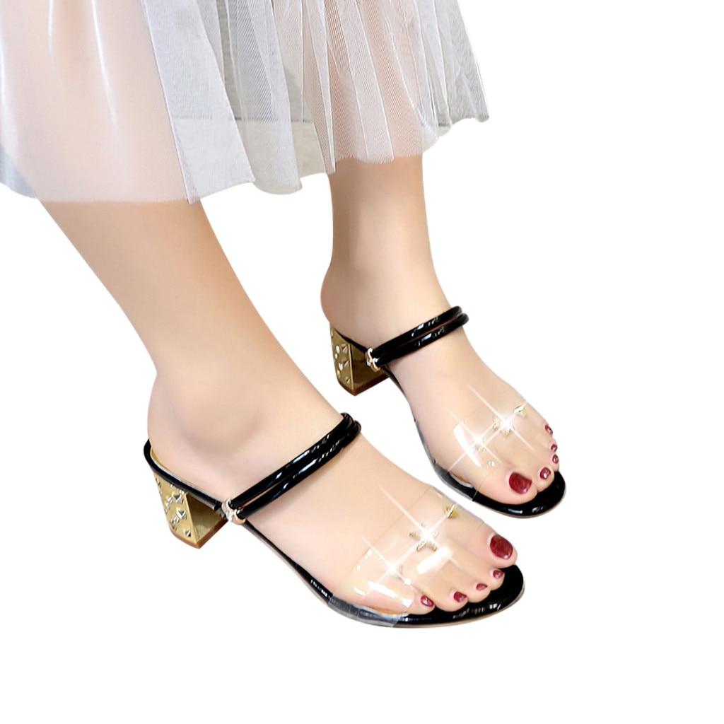 2019 Summer sandals Womens High Heels  Leather Fashion Dress Heeled Sandals Dress Party Transparent Elegant Pump Slipper2019 Summer sandals Womens High Heels  Leather Fashion Dress Heeled Sandals Dress Party Transparent Elegant Pump Slipper